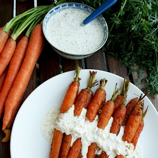 Roasted Carrots with Indian Spices and Cashew Feta Dip
