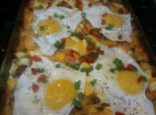 Top casserole with additional eggs cooked SUNNY SIDE UP IF DESIRED.