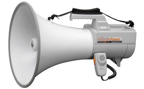 TOA ER-2230W   Megafon med axelrem 30 Watt med mikrofon och vissel funktion, 2 ingångar