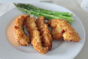 Homemeade Chicken Fingers with Spicy Lime Mayo