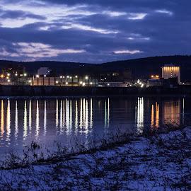by Art Tilts - City,  Street & Park  Skylines ( reflections, waterfront, chenango river, binghamton, clouds, evening, lights )