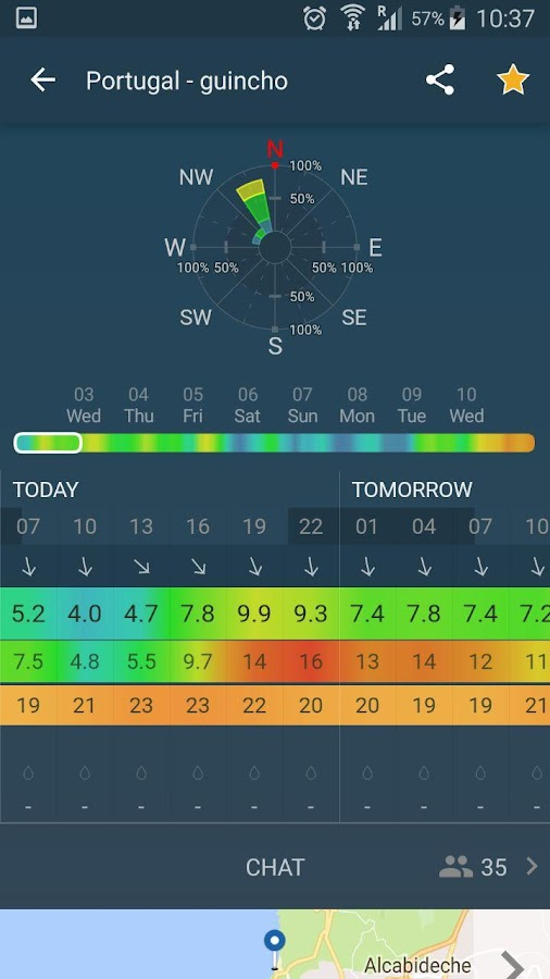 WINDY: NOAA wind forecast app- screenshot
