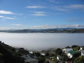 Photo: Sea fog in Lyall Bay - 12:19pm, 19-May-05