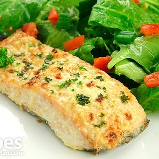 Garlic Parmesan Crusted Salmon.