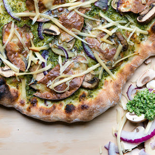 Pesto Pizza with Mushrooms and Smoked Gouda.