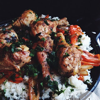 Chicken Legs with Rice and Peppers.
