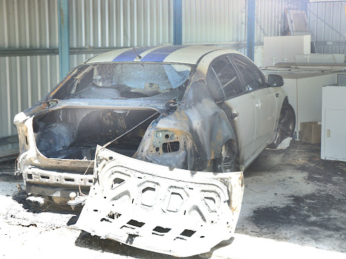 The burned-out Ford Cobra