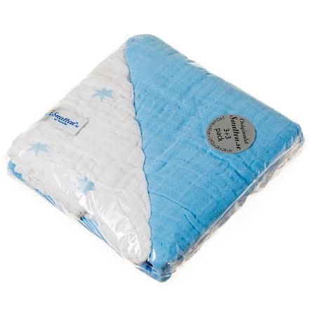 Blå 3st Stora Original +3st Näsduk Vita med Blå stjärnor