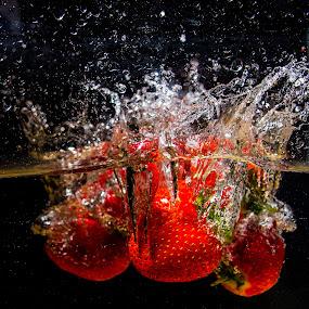 Strawberry Splash by Simon Sweetman - Food & Drink Fruits & Vegetables ( water, fruit, splash, strawberries, strawberry, water splash )
