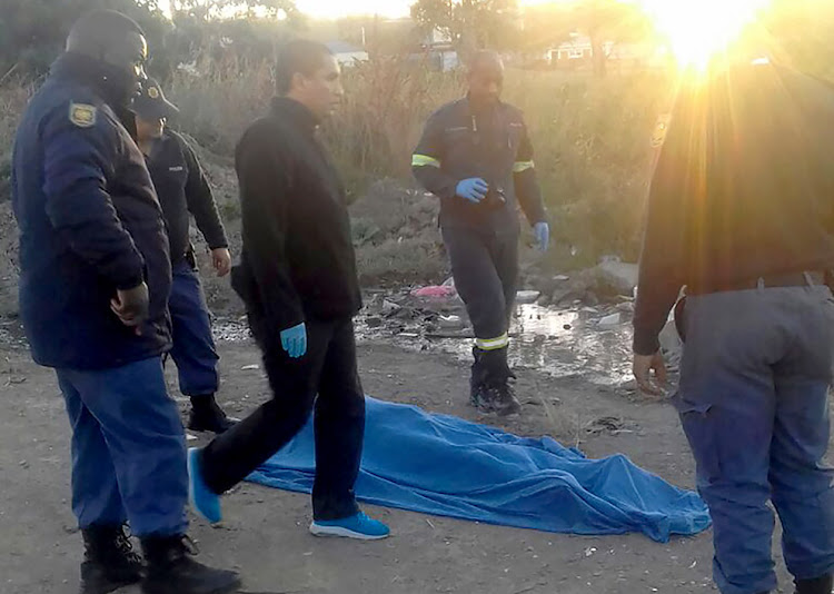 Police at the scene where Juvan Fourie's body was found on Saturday morning in Pefferville