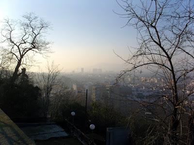 A foggy Barcelona vista