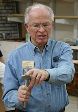 Photo: Beginning the Show & Tell period:  Phil Brown with a home-made tool rest.