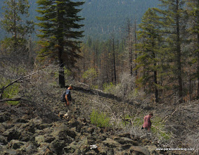 Photo: Rodney and Eric descending the Sugarloaf lava fields. Lassen Nat'l Forest.