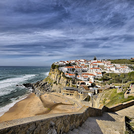 Azenhas do Mar by Julio Cardoso - City,  Street & Park  Historic Districts ( colares, oceano atlântico, sintra, azenhas do mar, portugal )