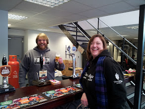 Photo: Tim Matthews pulls a pint of Brother Rabbit ale for himself at the Thornbridge brewery in Bakewell, UK. The Beer Wench is amused.