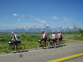 Photo: Day 18 Jackson Hole to Dubois WY 88 miles 4450' climbing: break time with Tetons in background