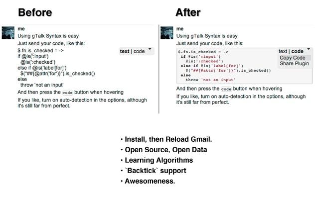 gTalk Syntax Highlighting