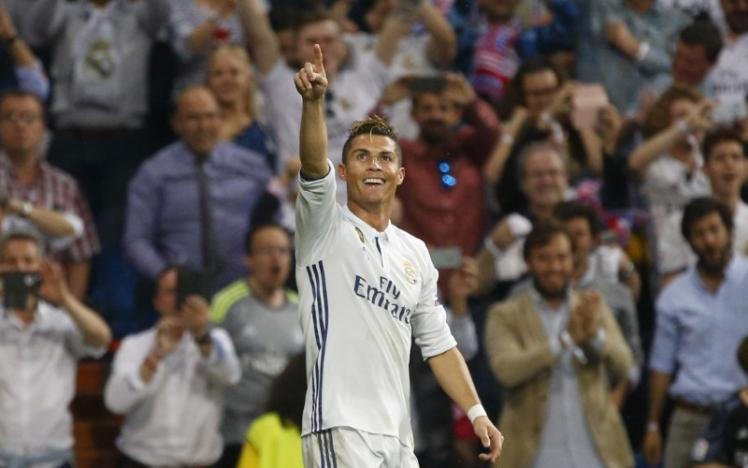 Real Madrid's Cristiano Ronaldo celebrates scoring their third goal. Picture: ACTION IMAGES VIA REUTERS