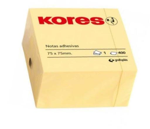 notas kores cubo amarillo 400 hojas 75x75mm