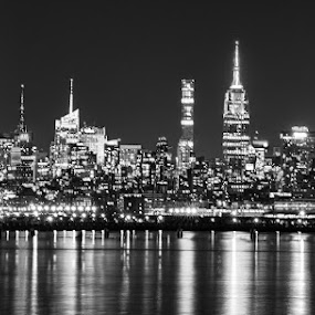 New York City at Night by Stephen Majchrzak - Black & White Buildings & Architecture