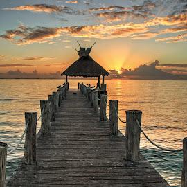 End of the Pier by Richard Michael Lingo - Buildings & Architecture Bridges & Suspended Structures ( cancun, mexico, pier, sunrise, landscape )