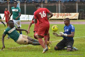 Photo: Alhassan 'Crespo' Kamara strikes the ball to put the Leone Stars 3:0  [Leone Stars Vs. Equatorial Guinea, 7 Sept 2013 (Pic: Darren McKinstry)]