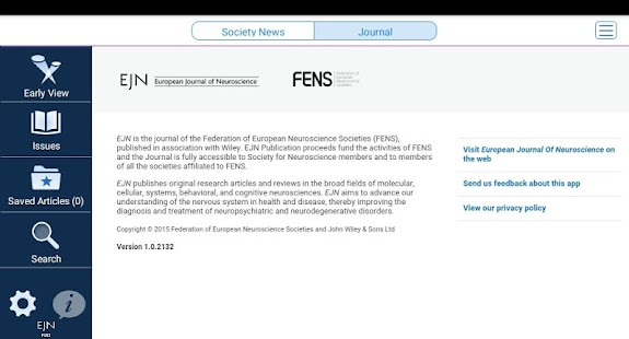 European Jnl of Neuroscience- screenshot thumbnail