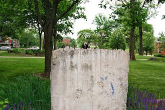 "Photo: ""Ronald Reagan"" tearing down the iron wall.  Reagan Memorial 2013, Eureka College"