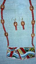 Photo: Copper enamel pendant, coral, copper, 14K gold vermeil  SOLD/ПРОДАНИЙ