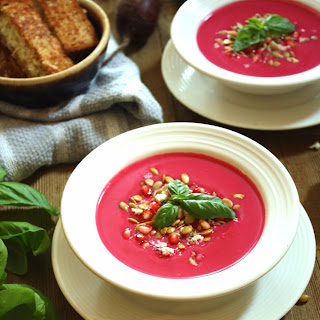 Harvest Soup with Grilled Bacon Blue Cheese Dippers.