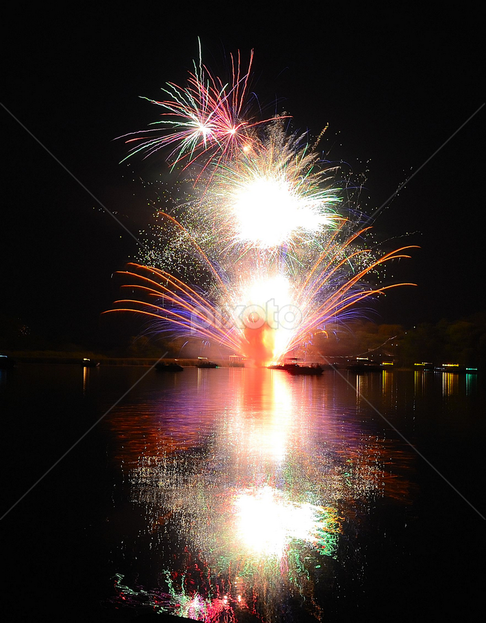 Fire on the Lake by Katie Schmitt - Abstract Fire & Fireworks ( pwcfireworks,  )