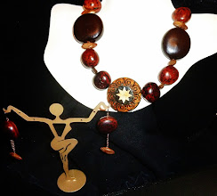 Photo: <BEREHYNYA> {Great Goddess Protectress} unique one-of-a-kind statement jewellery by Luba Bilash ART & ADORNMENT  REBIRTH - ВІДРОДЖЕННЯ - straw & wood burned pendant, beach hearts & bibako seeds, wood, rose gold vermеil hook clasp/chains/French wires SOLD/ПРОДАНИЙ