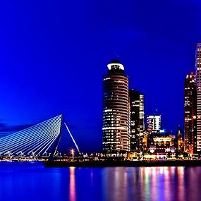 Wilhelminabridge by Redski Pictures - Buildings & Architecture Bridges & Suspended Structures ( lights, water, rotterdam, holland, buildings, wilhelminabridge, bridge, city,  )