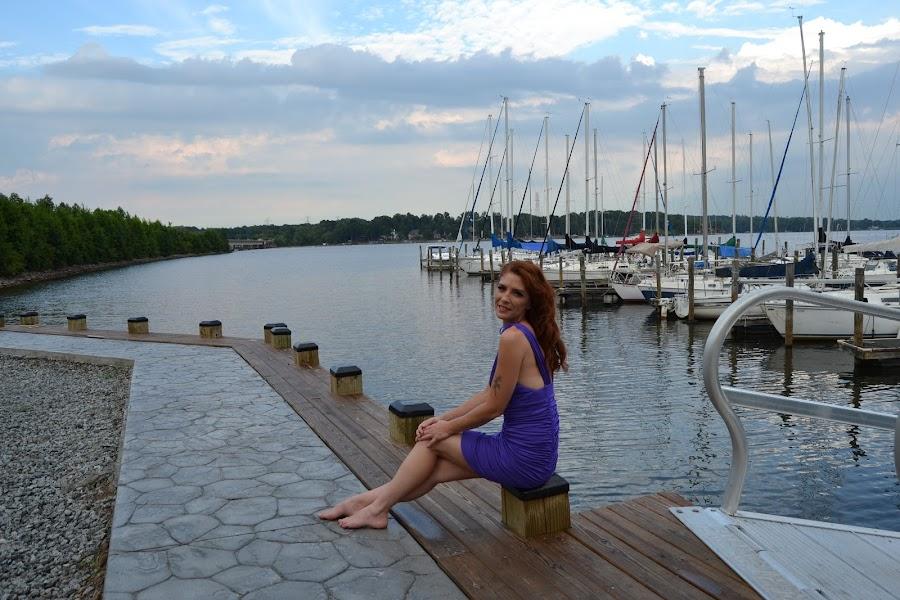 Dock Sittin by Kimberly Kunik - Novices Only Portraits & People ( boat dock, qs photography, boatyard, purple dress, pier, redhead )