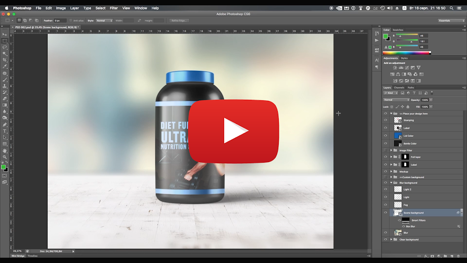 Sports Nutrition Supplements Bottle Mock-Up