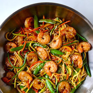 Asian Zucchini Noodle Stirfry w Shrimp.
