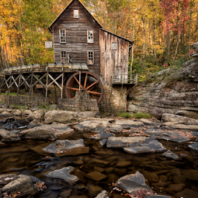 Autumn's Touch by Robert Fawcett - Buildings & Architecture Public & Historical ( water, mill, glade creek, autumn, autumnplaces, travel, historic, gristmill )