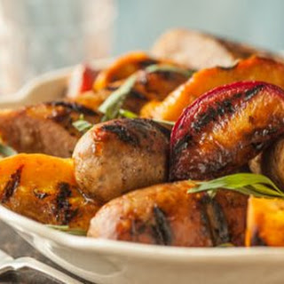 Grilled Sausages with Maple Glazed Fruit