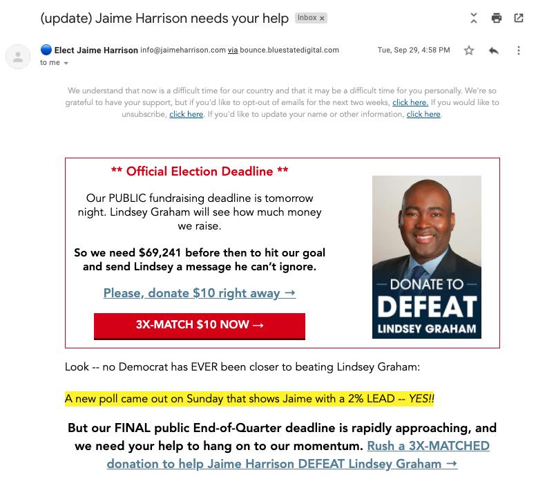 "An email from Jamie Harrison's campaign. At the top of the message, they let supporters know that they can choose to ""opt out of emails for the next two weeks."""