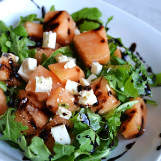 Arugula, Melon and Feta with Balsamic Glaze