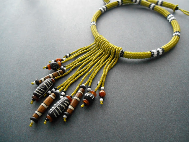 Olive Fringe Necklace