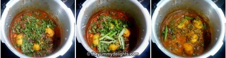Addition of mint leaves, coriander leaves and green chilies to make egg biryani recipe