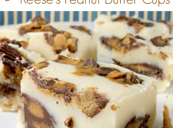 White Chocolate Reeses Peanut Butter Cup Fudge Bites Recipe
