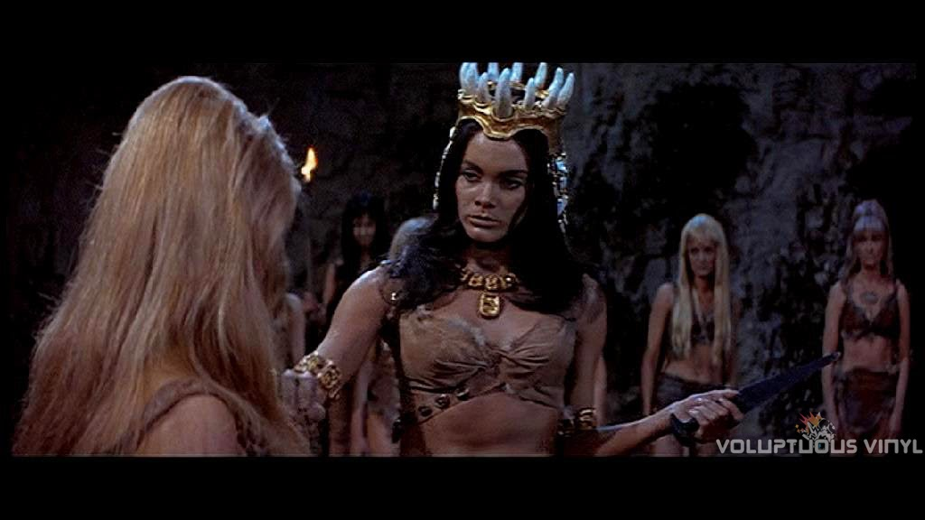 Martine Beswick as the dominating queen in Prehistoric Women