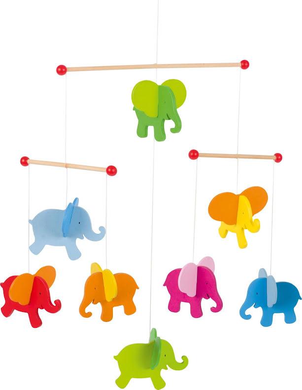 Mobil med färggranna elefanter