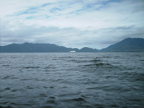 Photo: An Alaska ferry goes up Fitz Hugh Sound with Calvert Island in the distance.