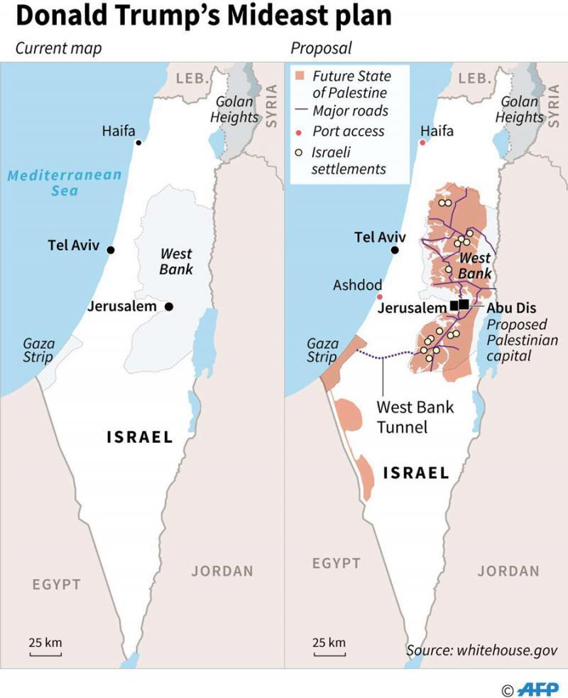 A map of Israel and Palestinian territories shows a proposed Mideast plan of US President Donald Trump, announced in Washington, January 28. (AFP)