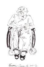 Photo: 戴腳鐐的老人2012.06.04鋼筆 老人家剛外醫門診回來,還沒解腳鐐,他坐在輪椅上拉著腳鐐的繫繩…