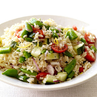 Brown Rice Salad with Tomatoes and Sugar Snap Peas.