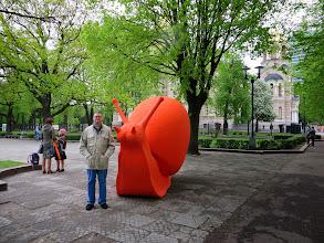 Photo: Matt and a big, orange snail